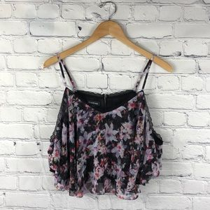 Bebe | Cold Shoulder Floral Print Crop Top L